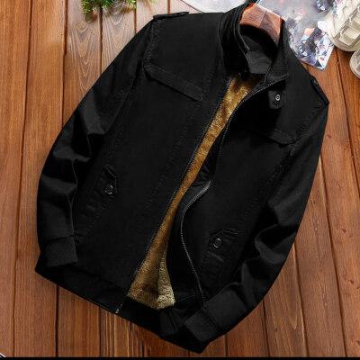 爸爸秋装外套中年男士商务休闲立领夹克衫中老年春秋季加绒上衣男
