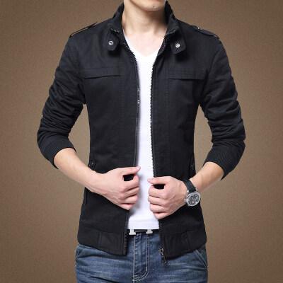 爸爸秋装外套中年男士商务休闲立领夹克衫中老年春秋季纯棉上衣男