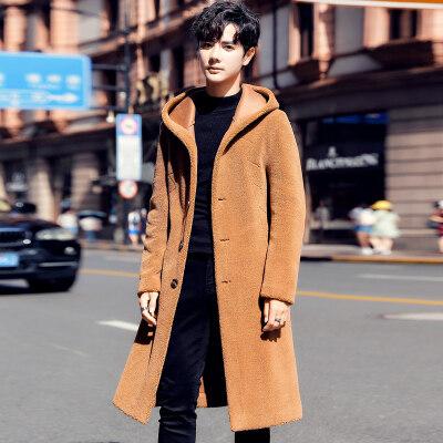 45808秋冬新款男士风衣中长款羊羔毛呢子大衣男韩版潮流毛呢