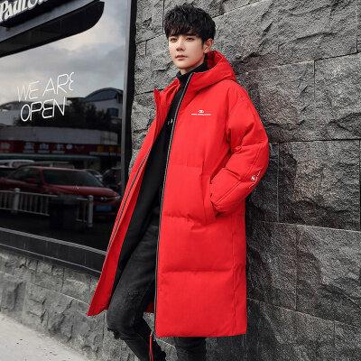 优羽尚2020新款羽绒服男中长款白鸭绒连帽外套冬装保暖大衣潮