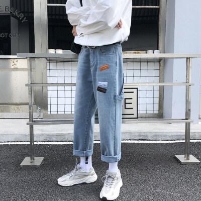 秋冬 港风牛仔裤 长裤 潮流时尚 港味下垂裤子 老爹裤宽松直筒 潮