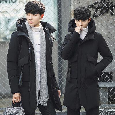男士外套冬季2019新款棉衣男中长款韩版潮流加厚棉服修身连帽