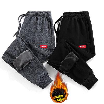 新款韩版休闲加绒长裤青少年运动裤男士加厚保暖修身裤子