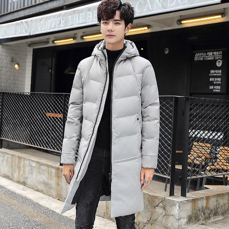 棉衣男中长款冬季加厚潮流御寒保暖棉服保暖外套修身青年连帽棉袄