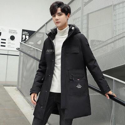 冬季新款羽绒服男中长款韩版潮流时尚休闲连帽外套男冬季保暖大衣