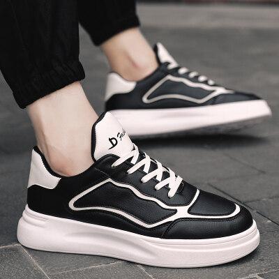 男鞋休闲鞋男士秋冬季新品厚底增高鞋子低帮板鞋皮面户外运动韩版
