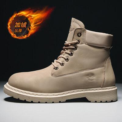 涌哥★M591 大黄蜂小黄靴加绒男高帮马丁靴工装靴棉鞋大头鞋