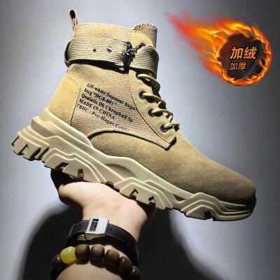 涌哥★M2923 冬季加绒男鞋高帮鞋马丁靴工装靴中帮潮鞋复古