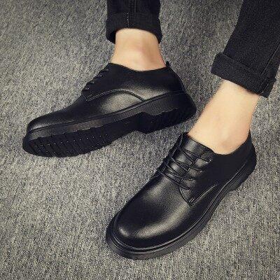男鞋秋季潮鞋黑色休闲小皮鞋男士韩版潮流马丁大头鞋百搭商务休闲