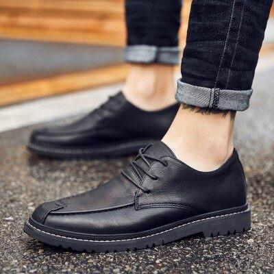 休闲皮鞋男棉鞋韩版内增高鞋子冬季潮流英伦小皮鞋男士系带豆豆鞋