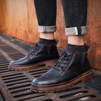 秋季高帮黑色皮鞋袜子口马丁靴男英伦风冬季加绒保暖短靴中帮棉鞋