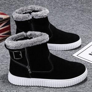 2019新款雪地靴男冬季保暖加绒加厚防滑马丁靴一脚蹬面包鞋