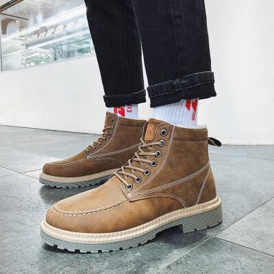 【誉诚鞋业-H511-注塑】加绒保暖高帮工装马丁靴-特价34