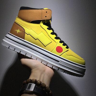 涌哥★C805 秋冬季皮卡丘男鞋韩版中帮板鞋高帮鞋小白鞋潮鞋