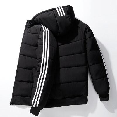 棉衣男保暖冬季新款男士韩版修身连帽条纹百搭休闲青年上衣外套潮