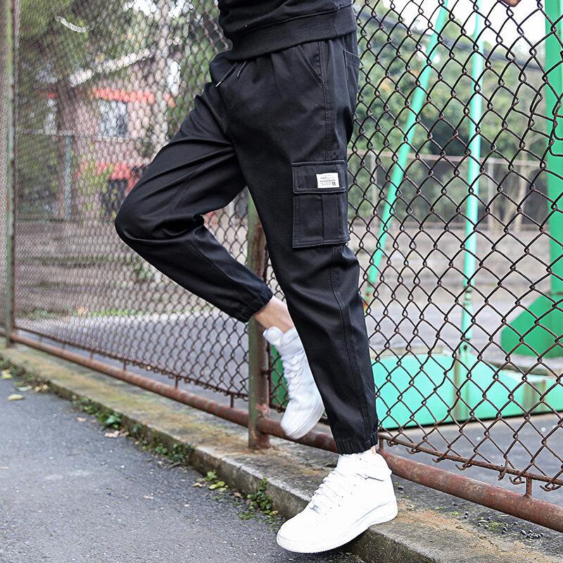 休闲裤子韩版潮2020新款宽松九分9023运动束脚纯棉工装裤