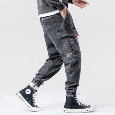新款秋冬黑灰色工装牛仔裤男士宽松潮牌多口袋收口哈伦束脚裤子