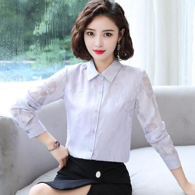 图荣春秋款女士长袖衬衫韩版时尚OL提花设计雪纺衬衣职业打底上衣