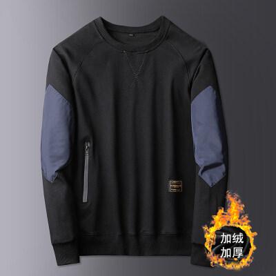 时尚个性潮流男装秋冬加绒加厚卫衣男圆领套头长袖T恤棉打底衫