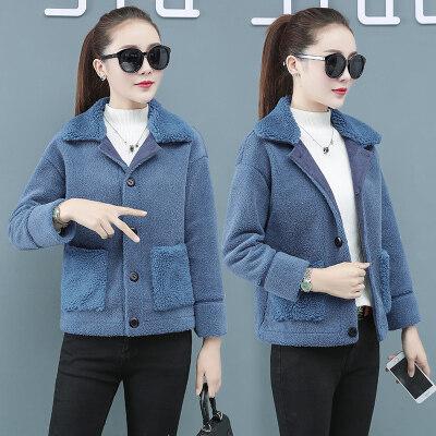 一件代发女装羊羔绒外套短款秋冬季韩版宽松百搭