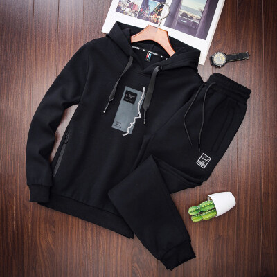 秋冬季男士卫衣运动套装韩版潮流学生连帽卫衣休闲两件套套装