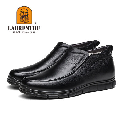 老人头男鞋冬季高帮棉鞋男保暖圆头商务休闲皮鞋真皮加绒加厚鞋子