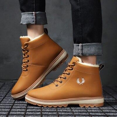 亏本冲量!!!冬季新款加绒高帮皮面棉鞋保暖皮鞋