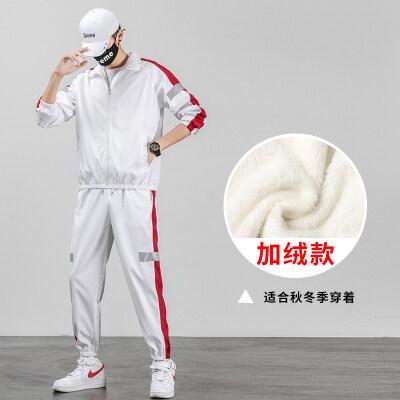 反光条春秋冬韩版潮流男装一套搭配衣服帅气夹克加绒加厚运动套装