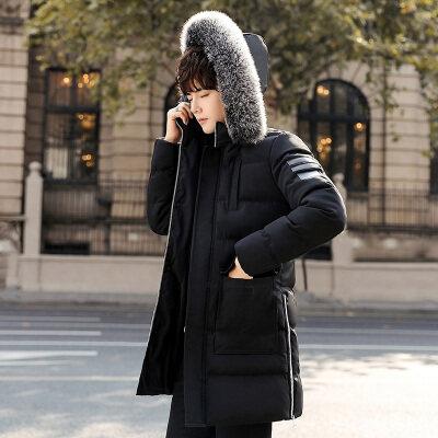 主推爆款棉衣男中长款连帽外套加厚毛领韩版修身款青年男装上衣