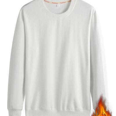 公版圆领卫衣男加绒加厚纯棉弹力本色水貂绒套头长袖打底衫纯色
