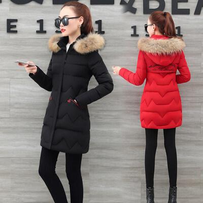 现货一件代发女装韩版修身连帽羽绒棉服中长款