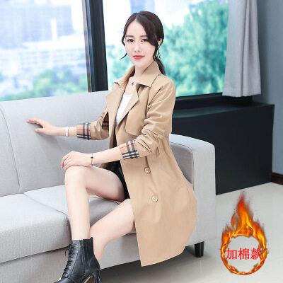 图荣秋冬季中长款风衣女韩版时尚加棉黑色大衣收腰显瘦休闲外套女