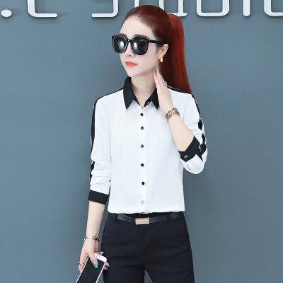 现货一件代发长袖白色职业装雪纺衬衫女2019初秋新款工装上衣