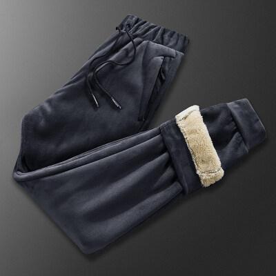 银狐绒加绒裤男外穿加厚运动裤秋冬款绒裤长裤冬季裤子大码休闲裤