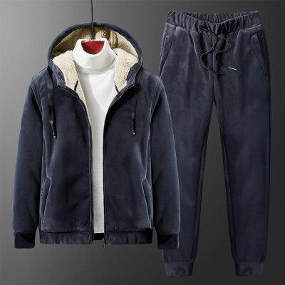 冬季男士卫衣裤子两件套青年大码宽松加绒加厚银狐绒保暖运动套装