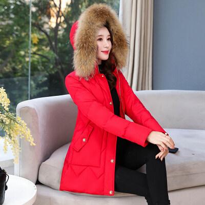 现货一件代发毛领羽绒服女冬装2019新款中长款白鸭绒保暖羽绒