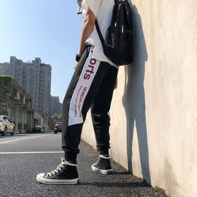 仿棉【不起球】运动裤子男士秋季潮流休闲宽松九分哈伦裤学生裤子