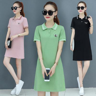 连衣裙2020新款夏超仙甜美polo桔梗复古网红仙女t恤裙女