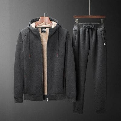 运动套装男士卫衣休闲秋冬季胖子加绒加厚潮流加肥加大码宽松外套