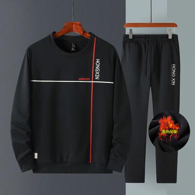 M-8XL大码套装男秋冬加绒加厚圆领套头卫衣男士休闲两件套
