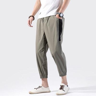 K335^中国风原创男装九分裤束脚松紧系带宽松小脚裤中式棉麻裤