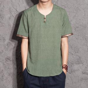 1701^ 仿亚麻T恤夏季宽松短袖亚麻简约短袖T恤薄款中式男装 半袖T