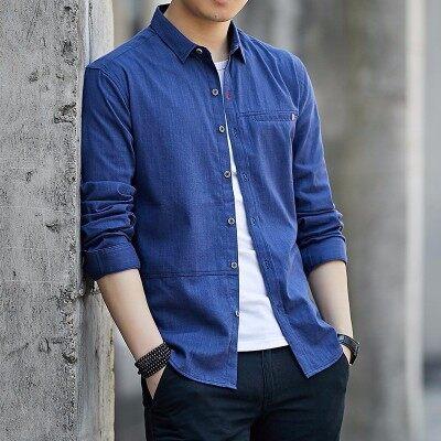 新款休闲百搭男士棉衬衣色文艺小清新男式衬衫青年男装韩版潮流