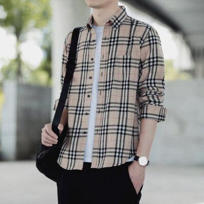 651917跑量春季男士港风翻领格子衬衫百搭青少年潮长袖衬衣