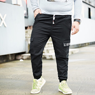 系带日系肥佬裤大码男装弹力哈伦松紧腰工装裤加肥加大束脚休闲裤