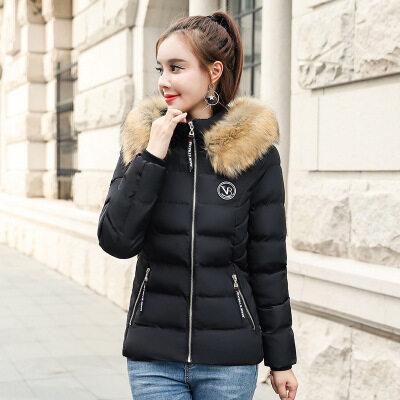 图荣冬季棉衣女韩版时尚可拆卸毛领棉服黑色棉袄外套女装一件代发