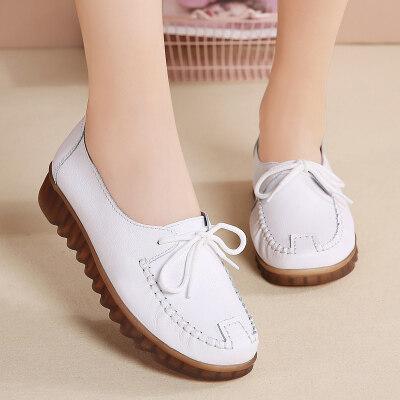 女鞋真皮妈妈鞋跨境外贸单鞋pvc软底系带休闲鞋