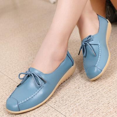 女鞋单鞋系带妈妈鞋真皮韩版休闲鞋平底坡跟