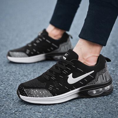 男女运动鞋女鞋春秋季款跑步鞋飞织透气休闲情侣气垫防滑软底单鞋