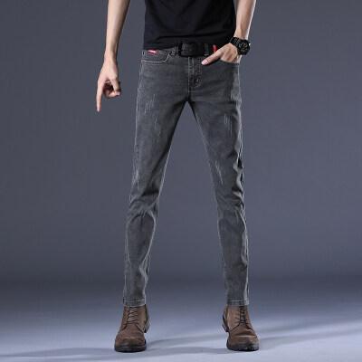 男士四季款裤子烟灰色牛仔裤男修身小脚弹力韩版潮流裤